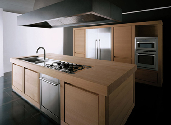100 percent Solid Wood Kitchen which blocks chestnut wood definitely and takes centre stage