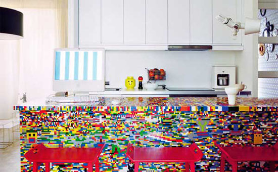 Amazing Lego styled kitchen in bright color combinations by Simon Pillard and Philippe Rosetti