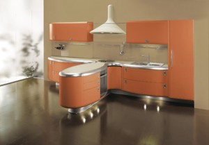 Americana kitchen curved line design built environmentally friendly processe and free harmful element