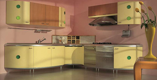 Americana kitchen curved line design built environmentally friendly processes free harmful element