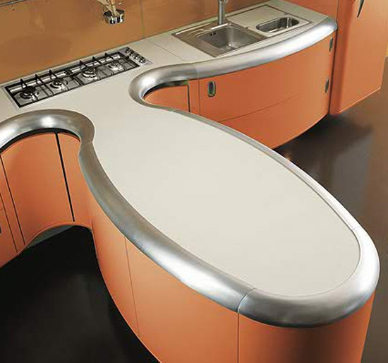 Americana kitchen curved lines design built environmentally friendly processes free harmful element