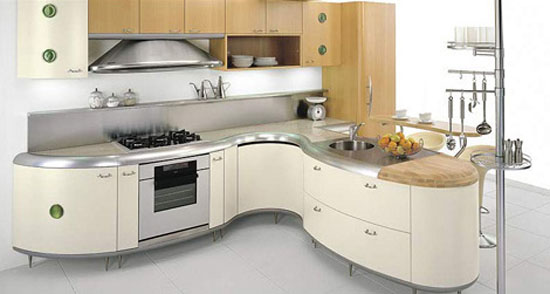 Americana kitchen curved lines design built environmentally friendly processes and free harmful element
