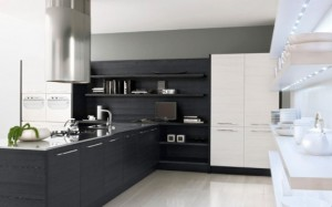 Black and White Kitchen Cabinets contrast design gives a romantic