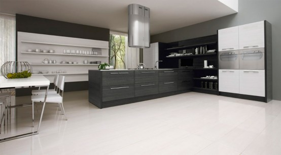 Black and White Kitchen Cabinets contrast design gives a romantic atmosphere