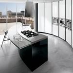 Black and white kitchen ElektraVetro model by Ernestomeda