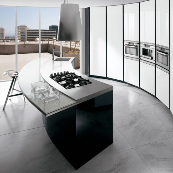 Black and white kitchen ElektraVetro model by Ernestomeda