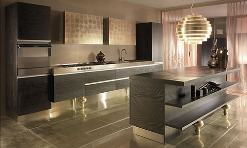 Brown kitchen color provide warmth and comfort equipped with the peninsula