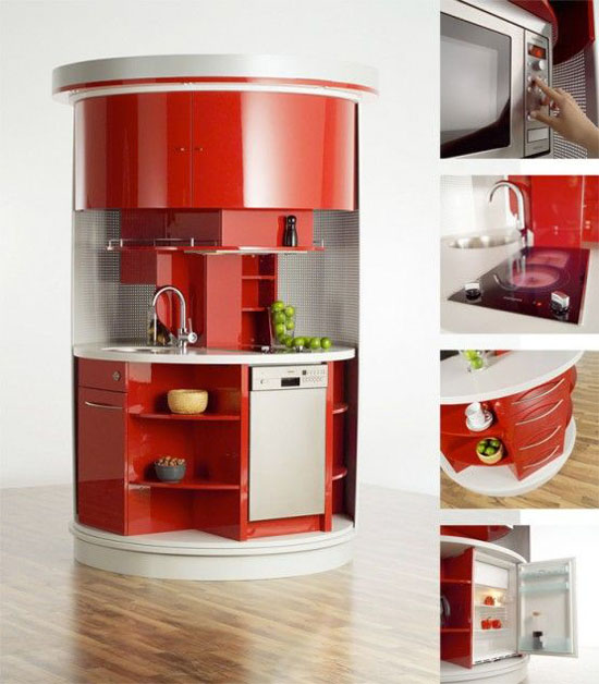 Circled kitchen table in compact concepts kitchen is highly functional