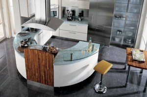 Circular kitchen with breakfast bar wooden accent welcoming circular counter shape