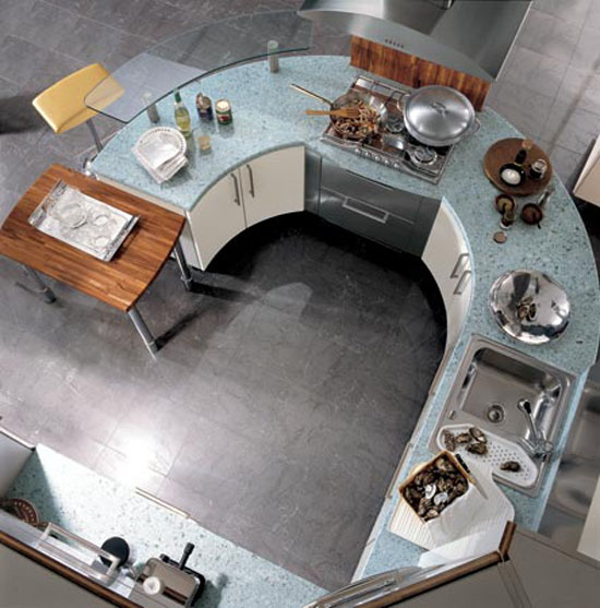 Circular kitchen with breakfast bar wooden accent welcomingcircular counter shape