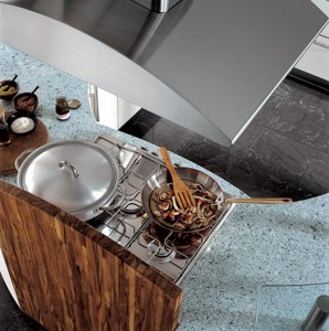 Circular kitchen with breakfast bar wooden accentwelcoming circular counter shape