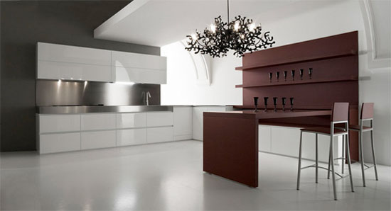 Class X Innovative Kitchen available in steels white and black finishes by Moretuzzo