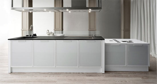 Class X Innovative Kitchens available in steel white and black finishes by Moretuzzo