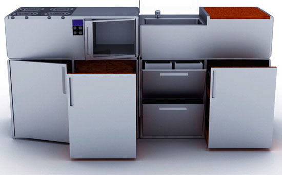 Compact Cubed Kitchen from aluminum and wood is Durable and easy to maintain