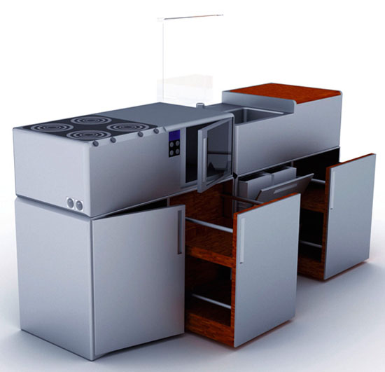 Compact Cubed Kitchens from aluminum and wood is Durable and easy to maintain