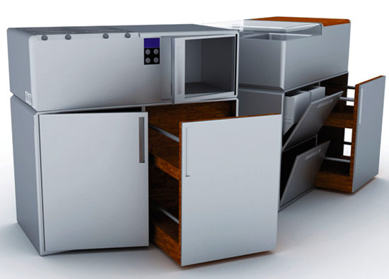 Compact Cubed Kitchens from aluminum and woods is Durable and easy to maintain