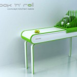 Compact kitchen island table saving space by Zivile Januskaityte