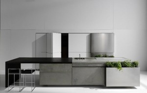 Concrete kitchen design style and unique industrial character with hygienic features
