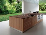 Contemporary Fiamma kitchen use smooth cabinet fronts banded with stripes dark grain