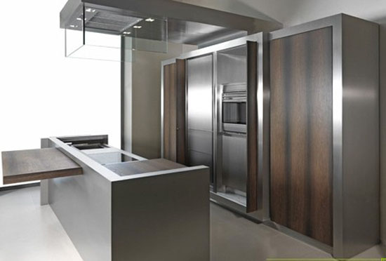 Contemporary Kitchen Sliding Islands Top and Movable Storage Wall ideal venue for a cocktail party
