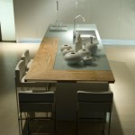Contemporary Kitchen with stainless steel backdrop Aster Cucine new Ulivo give green atmosphere