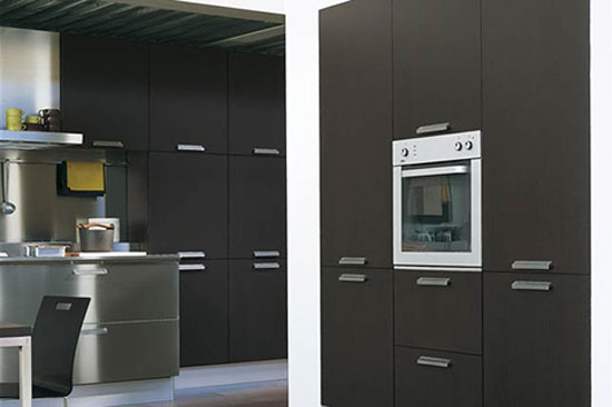 Contemporary Kitchens contrasted by cabinetry in black make comfort to cook
