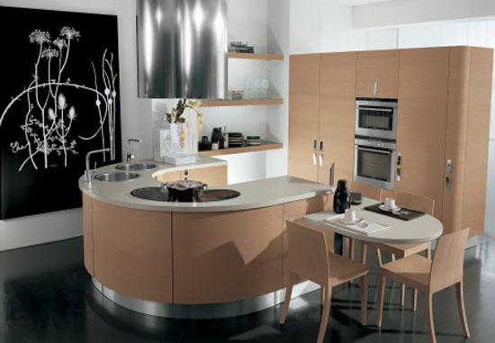 Contemporary Samal Kitchen designs curving counters rounded cupboard edges by Gatto Cucine