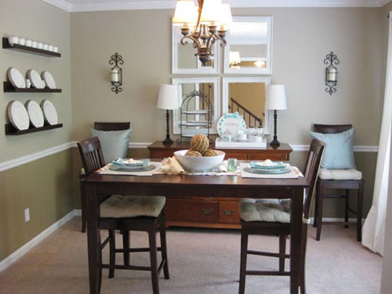 Small dining room design in contemporary classic and modern style