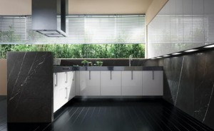Contemporary Stone Kitchen with White gloss lacquer on Small Space