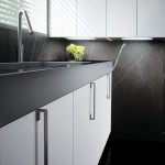 Contemporary Stones Kitchen with White gloss lacquer on Small Space