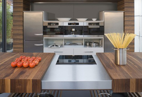 Contemporary kitchen available in oak beech European cherry American walnut and black cherry