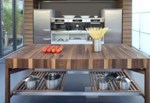 Contemporary kitchen available in oak beech European cherry American walnut black cherry