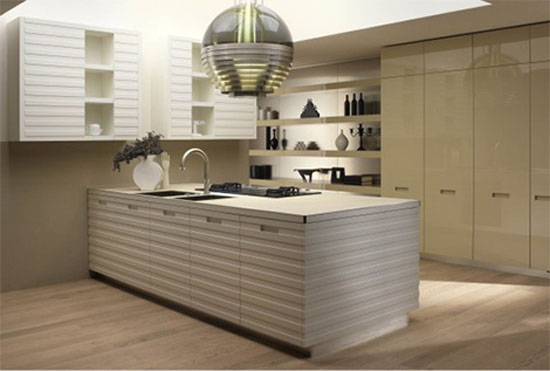Contemporary kitchen equipped by high gloss storage cupboard contrast with matt island in linear