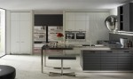 Contemporary kitchen equipped by high gloss storage cupboards contrast with matt island in linear