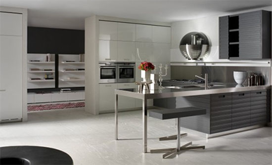 Contemporary kitchens equipped by high glos storage cupboard contrast with matt island in linear