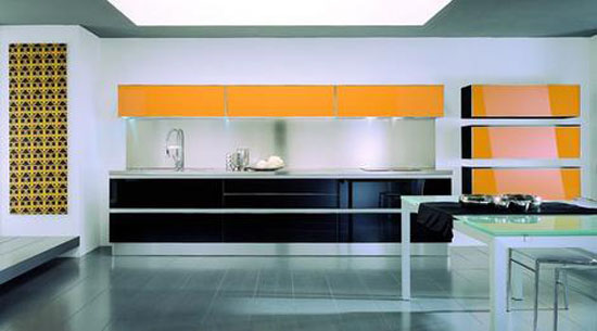 Contemporary modern and bold kitchen combination black and yellow or red and grey