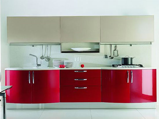 Contemporary modern and bold kitchen combination black and for Red modern kitchen designs