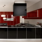 Contrasting red and black color Ultra modern kitchen by Futura Cucine