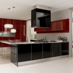 Contrasting red and black color Ultra modern kitchen design