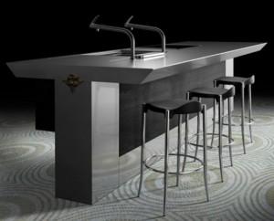 Cool Minimalist Kitchen In Strict metal grey