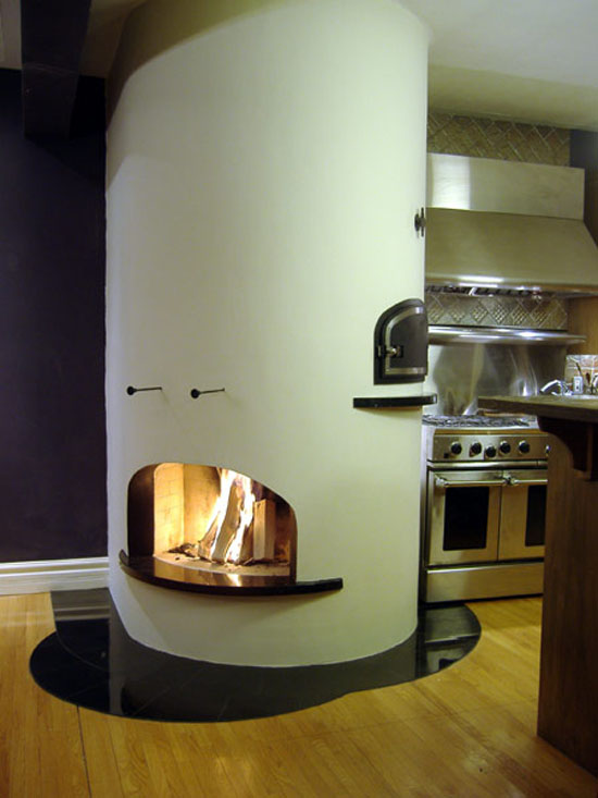Creative Custom Kitchen Fireplace combination between modern and old design