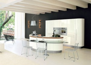 Curved Kitchen Island with Transparent glass table from Record Cucine