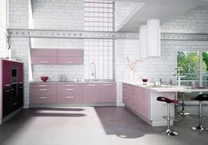 Cylindrical cooker hood in light color from Violet kitchens Mobapla
