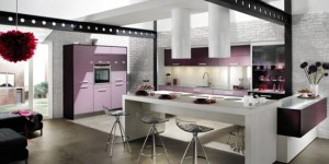 Cylindrical cooker hood in light colors from Violet kitchen Mobapla