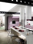 Cylindrical cooker hood in light colors from Violet kitchen Mobaplas