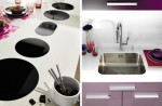 Cylindrical cooker hood in light colors from Violet kitchens Mobapla