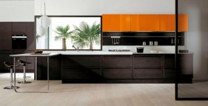 Dark Oak Wood Kitchen Designs combine high glossy colorful lacquer