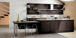 Dark Oak Wood Kitchens Design combine high glossy colorful lacquer