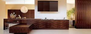Ebony kitchen with geometric shapes dominates uses grained wood stretches
