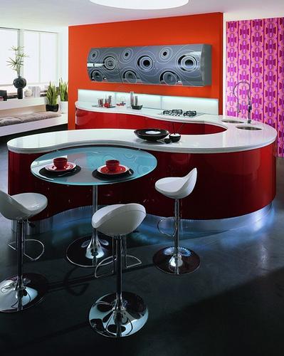 Elegant lifestyle red contemporary kitchen design ideas
